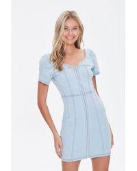 Forever 21 Zip-front Denim Mini Dress - Blue
