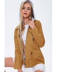 Forever 21 Hooded Combo Utility Jacket - Brown