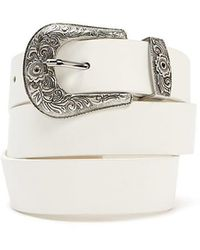 Forever 21 - Faux Leather Etched-buckle Hip Belt - Lyst