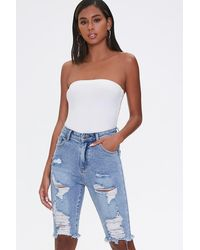 Forever 21 Distressed Bermuda Shorts - Blue