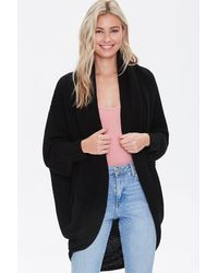 Forever 21 Ribbed Open-front Cardigan - Black