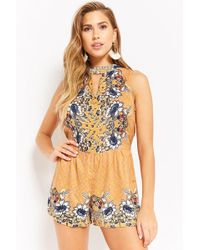 395ea7f77302 Forever 21 - Women s Floral V-cutout Playsuit - Lyst