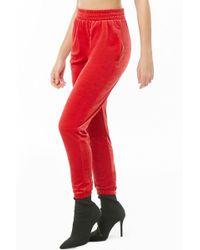 Forever 21 Velvet Knit Sweatpants , Red