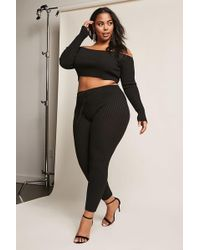 Forever 21 - Plus Size Ribbed Crop Top & Trousers Set - Lyst