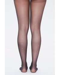 Forever 21 Sheer Rhinestone Tights - Black