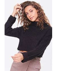 Forever 21 Ribbed Turtleneck Sweater - Black