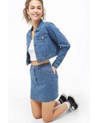 Forever 21 Pinstriped Mini Skirt , Denim/multi - Blue