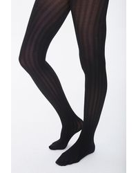 Forever 21 Opaque Ribbed Tights - Black