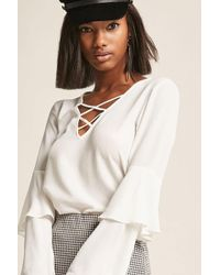 Forever 21 | Strappy Bell-sleeve Top | Lyst