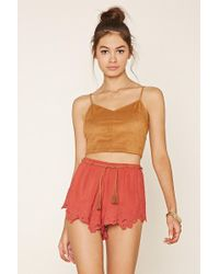 Forever 21 - Belted Floral-embroidered Shorts - Lyst
