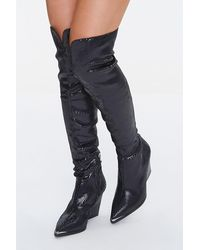 Forever 21 Faux Lizard Over-the-knee Boots - Black