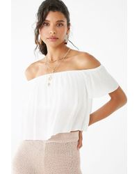 af95d02c18feba Forever 21 Cherry Print Off-the-shoulder Top in White - Lyst