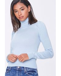 Forever 21 Turtleneck Ribbed-trim Sweater - Blue
