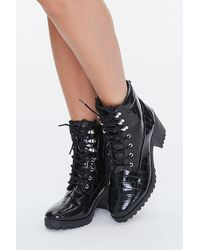 Forever 21 Faux Leather Lace-up Booties In Black, Size 7