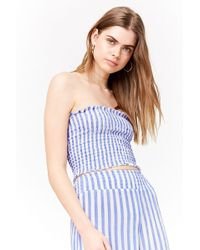 Forever 21 - Striped Smocked Cropped Tube Top - Lyst