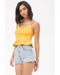Forever 21 - Polka Dot Button-front Top - Lyst