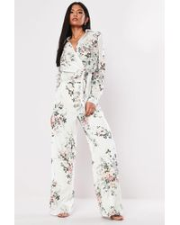 Missguided Floral Palazzo Pants At , White/multi