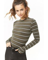 Forever 21 - Women's Striped Mock Neck Top - Lyst