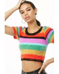 Forever 21 - Fuzzy Knit Striped Crop Top - Lyst