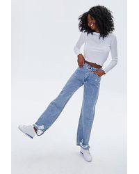 Forever 21 Crisscross High-rise Straight Jeans In Light Denim, Size 30 - Blue