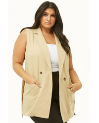 Forever 21 - Plus Size Longline Double-breasted Vest - Lyst