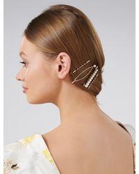 Forever New Emily Simple Pearl Four-pack Hair Slides - Metallic
