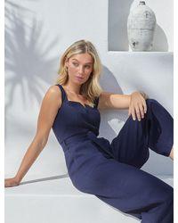 Forever New Aurora Wide-leg Belted Jumpsuit - Blue