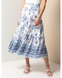 Forever New Lilliana Petite Tiered Maxi Skirt - Blue