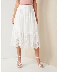 Forever New Willow Scallop-hem Midi Skirt - White