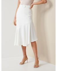 Forever New Anna Asymmetric Belted Midi Skirt - White