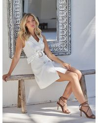 Forever New Tessa Sleeveless Blazer Dress - White