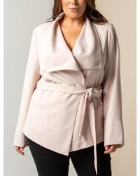 Forever New Amanda Curve Waterfall Jacket - Natural