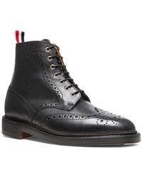Thom Browne Wingtip Leather Boots - Black