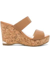 Jimmy Choo - Leather Parker Wedges In Tan - Lyst