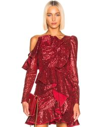Self-Portrait For Fwrd Sequin Frill Top - Red