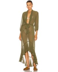 Adriana Degreas Muguet Solid Long Dress With Knot - Green
