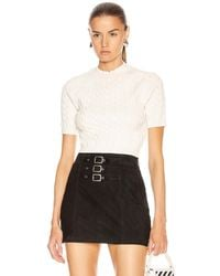 T By Alexander Wang Shrunken Cable Short Sleeve Sweater - White