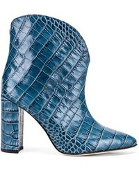 Paris Texas Moc Croco Ankle Boot - Blue