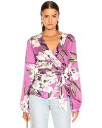 PATBO Orchid Print Wrap Blouse - Purple