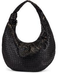 Bottega Veneta Maxi Woven Shoulder Hobo Bag - Black