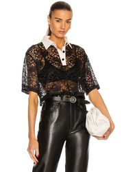 Daniele Carlotta Silk Collar Lace Polo Top - Black