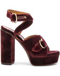 Chloé Velvet Kingsley Sandals - Multicolour
