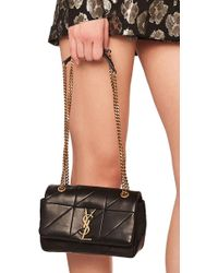Saint Laurent - Small Patchwork Leather Monogramme Chain Bag In Black - Lyst