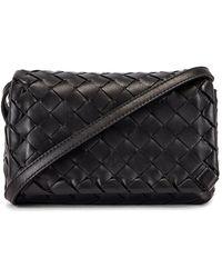 Bottega Veneta Leather Woven Crossbody Bag - Black