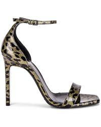 Saint Laurent Amber Leopard Glitter Ankle Strap Sandals - Mettallic