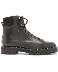 Valentino Leather Soul Rockstud Hiking Boots - Black