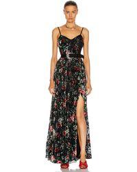 PATBO Floral Burnout Bustier Dress With Belt - Black