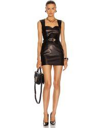 Versace Leather Mini Dress - Black