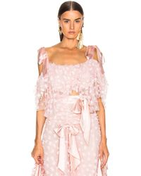 Rodarte Embroidered Bow Tiered Off The Shoulder Blouse - Pink