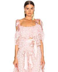 Rodarte Off-the-Shoulder-Bluse mit Rüschen, Stickereien und Schleifen - Pink